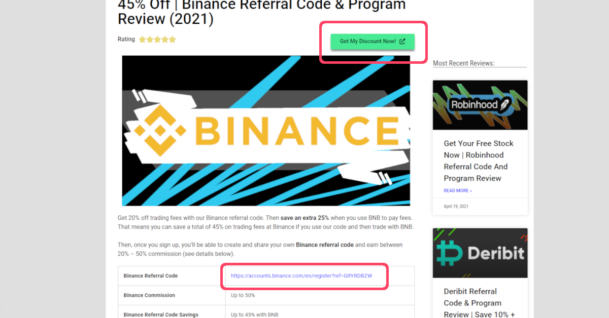 Step 1 of 6 for signing up to obtaining your own Binance referral code ID and link