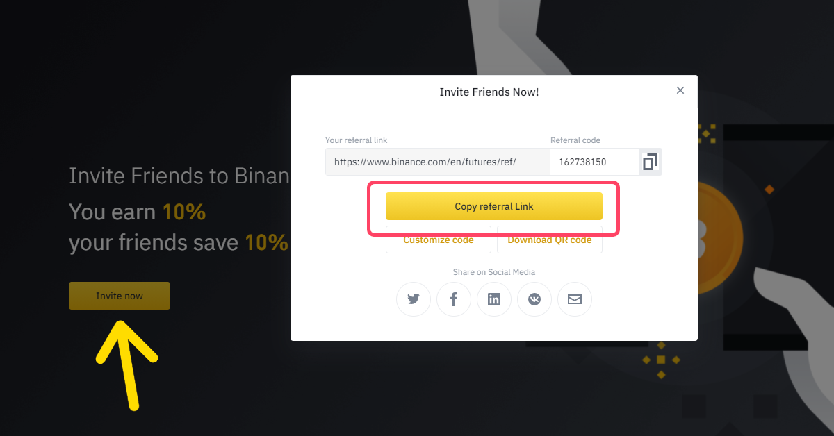 How to sign up for Binance Futures referral ID code step 4