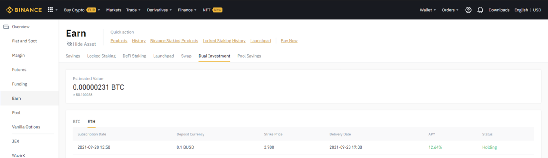 A screenshot of the Binance Dual Investment overview screen with an open position.