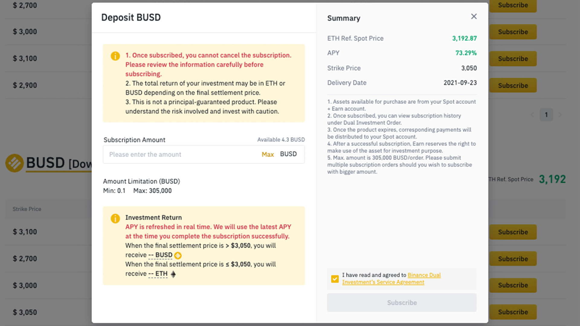Binance Dual Investment confirmation screen